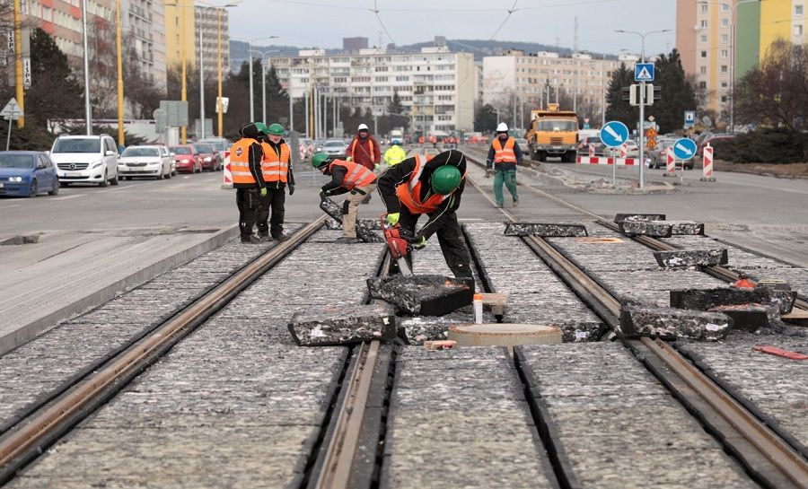 Modernizácia električkových tratí v Košiciach 22.2.2018, foto 2
